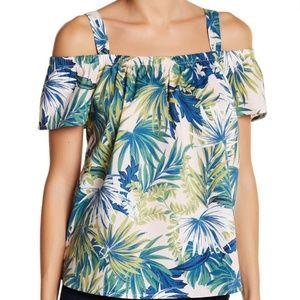 BOBEAU Floral Print Cotton Cold Shoulder Top